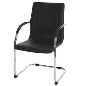 Esszimmerstuhl Samara, Freischwinger Küchenstuhl Lehnstuhl Stuhl, PVC Stahl  schwarz