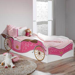 Kinderbett Zoe weiß pink 90*200 cm  Mädchen Kinderzimmer Kutschen Liege Prinzessinen Jugendbett
