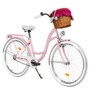 Milord Komfort Fahrrad Mit Weidenkorb Damenfahrrad, 28 Zoll, Rosa, 3 Gang Shimano