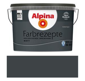 Alpina Farbrezepte Innenfarbe Wandfarbe matt, 2,5 L Dunkle Eleganz, Dunkelgrau