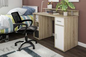 HOMEXPERTS Schreibtisch DON, Breite 120 cm, in Sonoma Eichen-Optik, Front in weiß, mit viel Stauraum