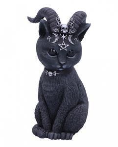 Geheimnisvolle Katzenfigur mit Ziegenhörner als Gothic Wohn Accessoire