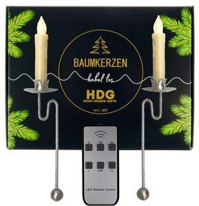 Baumkerzen kabellos mit Fernbedienung - LED Kerzen + Balancehalter silber, Set:12er Set Kerzen weiß