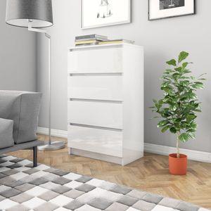 dereoir Sideboard Hochglanz-Weiß 60×35×98,5 cm Spanplatte