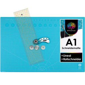 OfficeTree Set Schneidematte A1 blau + Rollschneider + Lineal 60x16 cm - für professionelle Schnittarbeiten