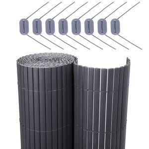 SONGMICS PVC Sichtschutzmatte 90 x 500 cm Sichtschutz stabil für Garten Balkon und Terrasse Grau GPF3095G
