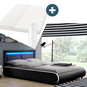 Juskys Polsterbett Murcia 140 x 200 cm Komplett-Set mit Matratze, Lattenrost, LED-Licht, Kopfteil - Kunstleder Bett - groß, massiv, modern & schwarz