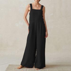 Damen Overalls mit weitem Bein Taschen Overalls Hosentraegerhose Female Button Playsuits Plus Size Casual[Schwarz-5XL]