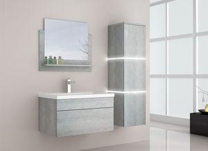 HOME DELUXE - Badmöbel WANGEROOGE L Grau (HB) Badezimmermöbel Waschbecken Unterschrank Spiegel