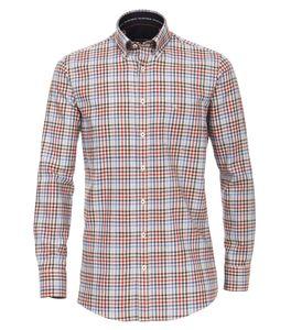 Casa Moda - Comfort Fit - Herren Langarm Flanell Hemd kariert mit Button-Down-Kragen (483087900A), Größe:XXL, Farbe:Rot (400)
