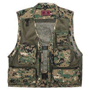 Anglerwesten,Angeln Fotografie Weste Sommer Multi Pockets Mesh Jacken Quick Dry Weste,Green Camouflage,XXXL