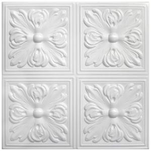 Deckenplatten | XPS | formfest | Hexim | 50x50cm | Nr.05, Inhalt:20 m² / 80 Platten, Farbe:weiß