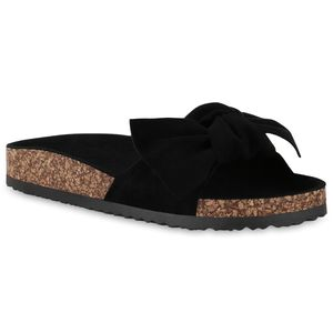 Mytrendshoe Damen Sandalen Pantoletten Schleife Hausschuhe Bequeme Schlappen 830745, Farbe: Schwarz, Größe: 41