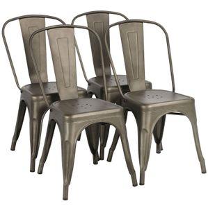 Yaheetech 4er Set Esszimmerstühle Wohnzimmerstühle Küchenstühle Stapelstuhl Sitzgruppe