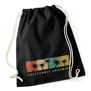 Turnbeutel California Dreaming Summer Party Palmen Palms Retro Vintage Hipster Jutesack Autiga® schwarz unisize