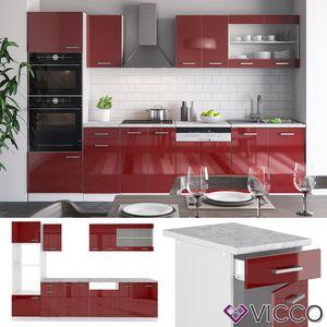 Vicco Küche R-Line 300Cm Küchenzeile Küchenblock Einbau Rot Bordeaux Hochglanz