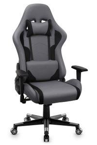 Gaming Stuhl Racing Bürostuhl Schreibtischstuhl Gamer Hoch Rücken Ergonomischer Stoff Stuhl, Grau