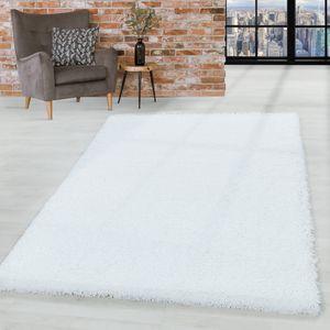 Hochflor Shaggy Teppich Wohnzimmerteppich Schlafzimmer Flor Super Soft Weiss, Farbe:Weiss, Grösse:120x170 cm