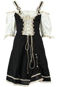 1-teiliges Midi-Dirndl Landhaus Kleid Dirndel, Größe:42, Farbe:Schwarz