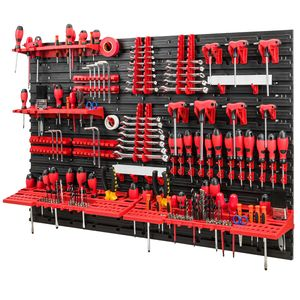 Werkzeugwand -1152 x 780 mm - Set 58 Werkzeughaltern mit Lochwand Lagersystem Warkzeuglochwand Wandregal Werkstattregal