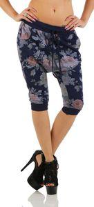 136 Shirtella Damen Capri Hose Haremshose Ballonhose Pluderhose Pumphose Aladinhose Sommerhose Blumen Print floral baggy pants 3/4 Blau