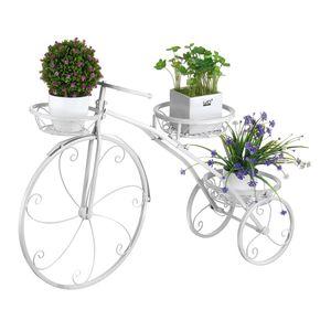 Sunnyme Blumentreppe Pflanzenständer Fahrradform Blumenständer Pflanz Metall 52*41*8cm Weiss