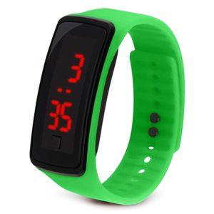 Studenten Kinder Kieselgel Sportuhr LED Digital Display Armband Uhr,Grün