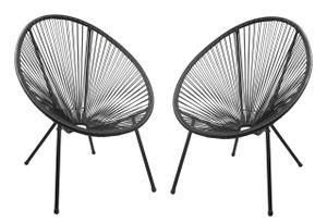 Garden Pleasure Relax Sessel DALIDA 2er Set schwarz - ausgefallenes und modernes Design