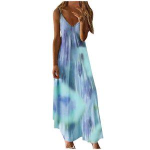 Mode Frauen y Plus Size Tie-Dye Print Ärmelloses V-Neck Camisole Langes Kleid Größe:XL,Farbe:Light blue