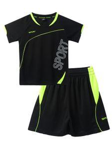 IEFIEL Unisex Kinder Sport Kleidung Set Jungen Mädchen Trainingsanzug Kurzarm T-Shirt mit Kurze Hosen Pants Streetwear