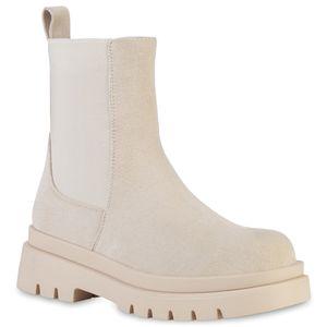 VAN HILL Damen Plateau Boots Stiefeletten Stiefel Profil-Sohle Schuhe 837887, Farbe: Beige Velours, Größe: 39