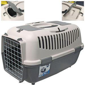 Große Transportbox für Tiere - Hunde & Katzen 35 x 55 x 36cm Anthrazit Hellgrau