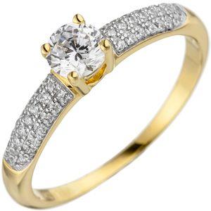 Solitär Ring mit weißen Zirkonia 925 Silber Gelbgold vergoldet Fingerschmuck, Ringgröße:Innenumfang 58mm  Ø18.5mm