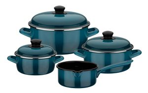 GSW Kochtopf-Set Blue Shadow 7-tlg., 190107, Stahl-Emaille, ca. 1,4 L / ca. 2,8 L / ca. 4,7 L / ca. 1,4 L