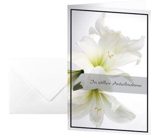 "sigel Trauerkarte ""Weiße Amaryllis"" (B)115 x (H)170 mm"
