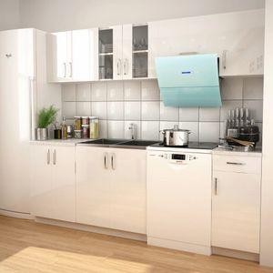 vidaXL 7-tlg. Küchenzeile Set mit Dunstabzugshaube Hochglanz Wei?