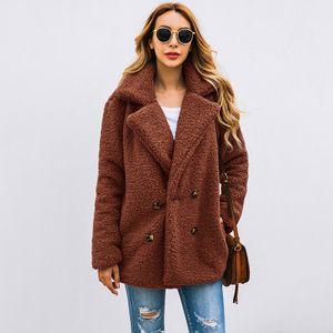 Frauen Faux Pelz Jacke Fuzzy Teddybaer Kerbe Revers Touble Breasted Tasten Taschen uebergrossen Casual Mantel