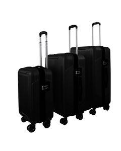SET Reisekoffer Schwarz Trolley Hartschale Reise Koffer Handgepäck  4 Doppelrollen TSA-Schloss (406013 SET mit 3 Koffern (M+L+XL) Schwarz