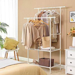 SONGMICS Kleiderständer mit 2 Kleiderstangen und 2 Ablagen| Garderobenständer aus Metall bis 80 kg belastbar einfache Montage weiß RDR02WT