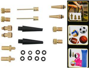 Luftpumpen Ventil Adaptersatz, 14 Stück 7 x 2 Adapter-Sätze plus 8 Gummi-Dichtungsringe, für Fahrräder Bälle Luftmatratzen Ventile
