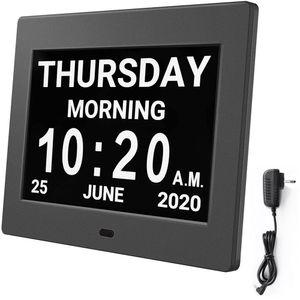 Seniorenuhr 8 Zoll. Digitale Kalender und Seniorenuhr Foto-Funktion - Digitale Uhr, Wecker, Kalender für Senioren & Demenzkranke  mit Erinnerungsfunktion