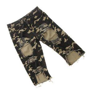Womens High Waist Ripped Loch Washed Distressed Short Jeans Skinny Hosen L Armeegrün