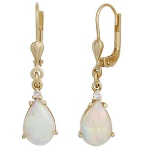 JOBO Boutons 585 Gold Gelbgold 2 Opale 2 Diamanten Brillanten Ohrringe Ohrhänger