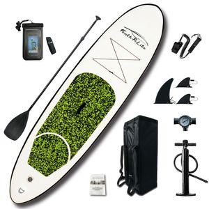 Funwater Stand Up Paddle Board - Paddelboard Wellenreiter aufblasbar - 305 x 76 x 16 cm - Grün