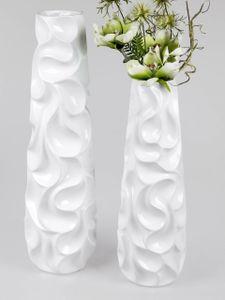 2er Set Deko Bodenvase WELLE H. 57cm + 72cm weiß konisch rund Keramik Formano