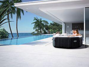 Intex Pool PureSPA Jet + Bubble Deluxe octagon onyx black 168x71 cm 6 Personen