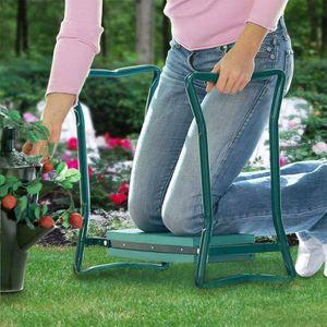 Tragbare faltbare Knieschutz-Gartensitzhocker-Bank mit weichem Knieschoner Gruen