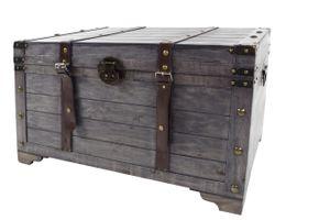 Truhe KUBA aus Holz grau mit Metall- und Kunstlederapplikationen GR3