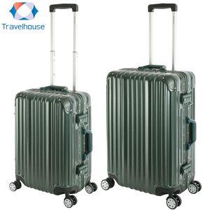 Travelhouse - London - 2er Reisekoffer Set | TSA Schloss |Polycarbonat Hartschale  | Alu-Rahmen | 4 Rollen | Koffer Trolley Reise Urlaub  Gepäck - Koffer Set S+M | Grün