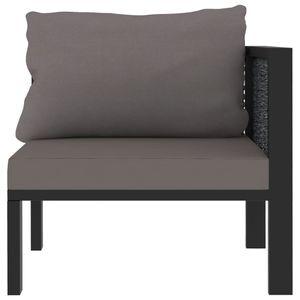 Hommie® Sofa Sofa-Eckelement mit Linker Couch Sofagarnitur Lounge-Sofa - Armlehne Poly Rattan Anthrazit für Wohnzimmer ❤4984